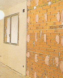 Tramo de pared preparada para instalar pladur